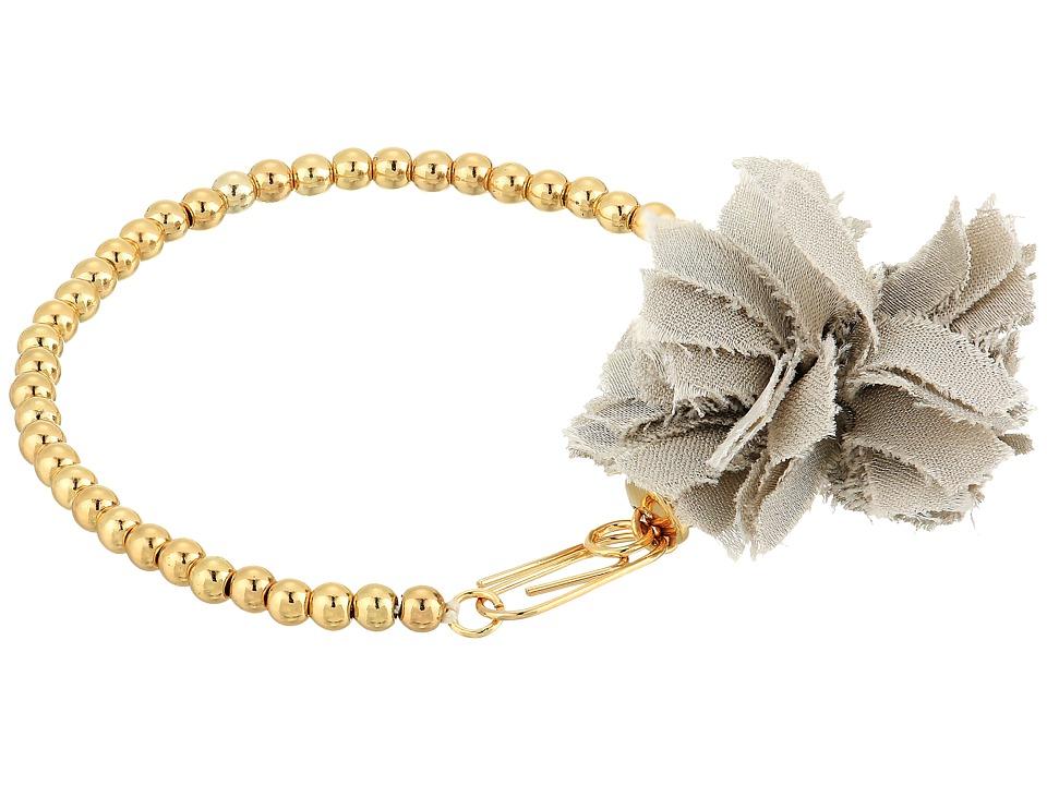 French Connection - Beaded Line Pom Pom Bracelet (Gold) Bracelet