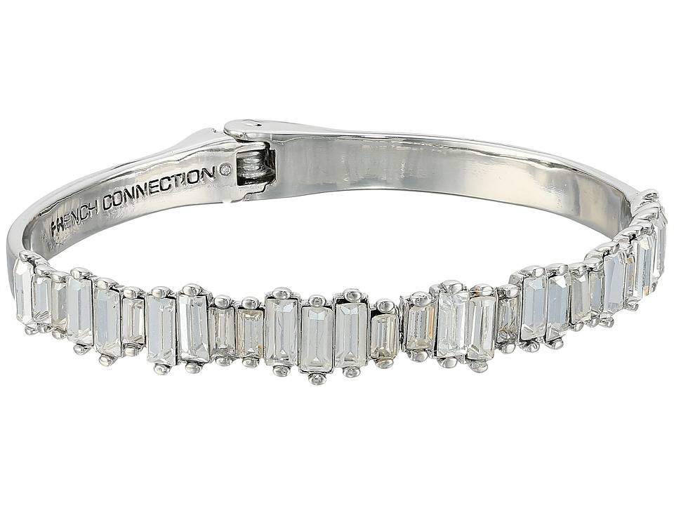 French Connection - Baguette Hinged Cuff Bracelet (Crystal/Rhodium) Bracelet