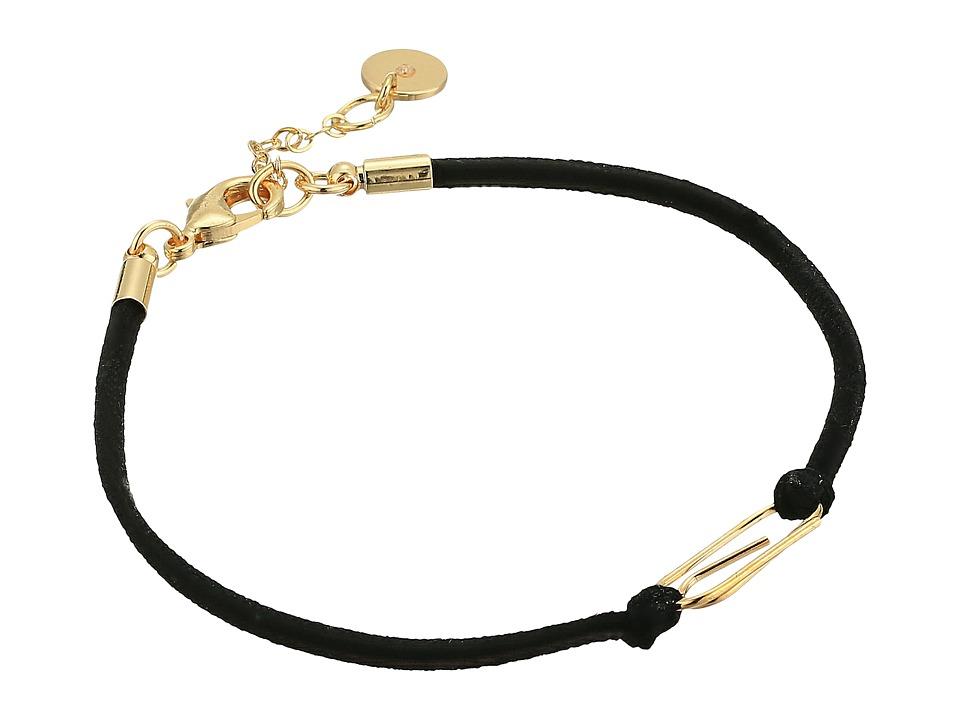 French Connection - Paperclip Cord Bracelet (Black/Gold) Bracelet