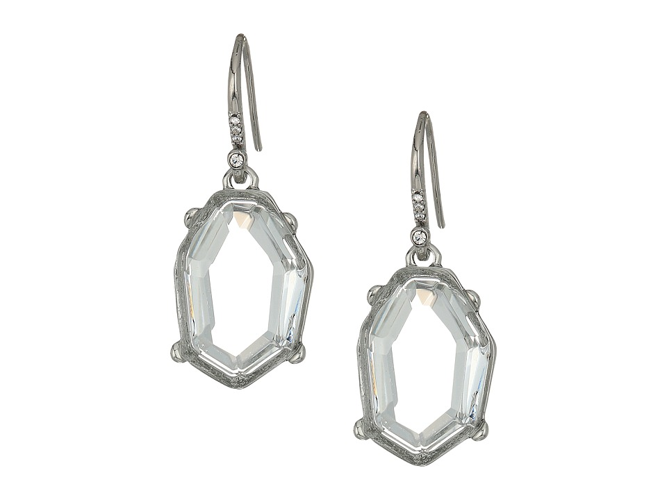 French Connection - Irregular Stone Drop Earrings (Crystal/Rhodium) Earring