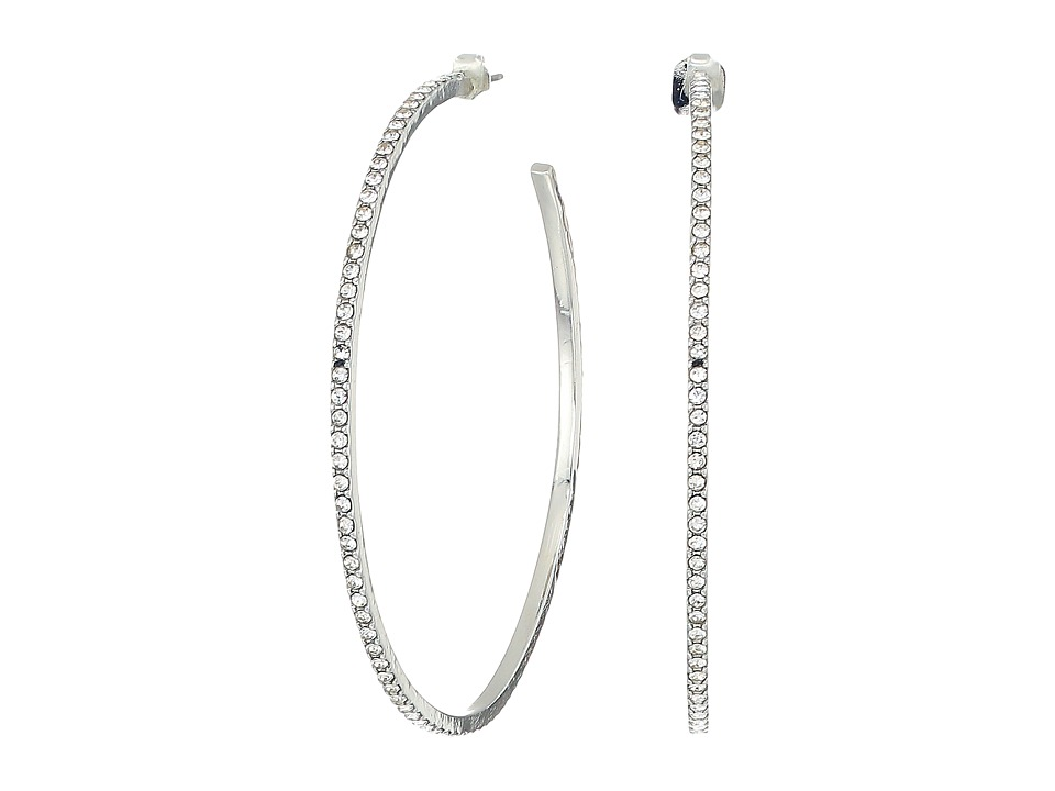 French Connection - Large Pave Hoop Earrings (Crystal/Rhodium) Earring