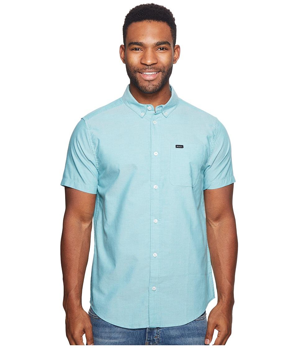 RVCA - Thatll Do Oxford Short Sleeve Woven (Light Teal) Mens Short Sleeve Button Up