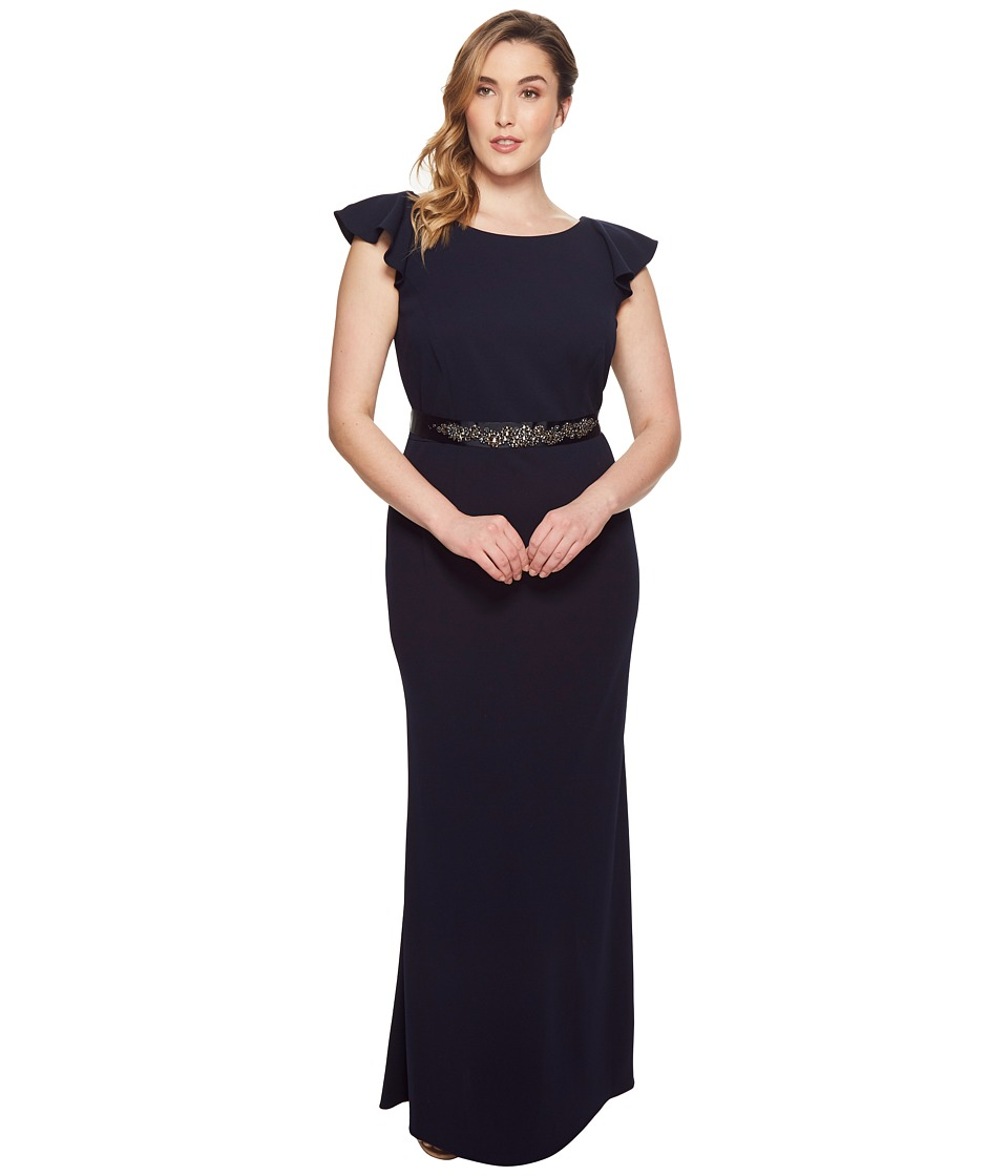 1930s Art Deco Plus Size Dresses | Tea Dresses, Party Dresses Adrianna Papell - Plus Size Fluttered Short Sleeve Beaded Crepe Gown Midnight Womens Dress $219.00 AT vintagedancer.com