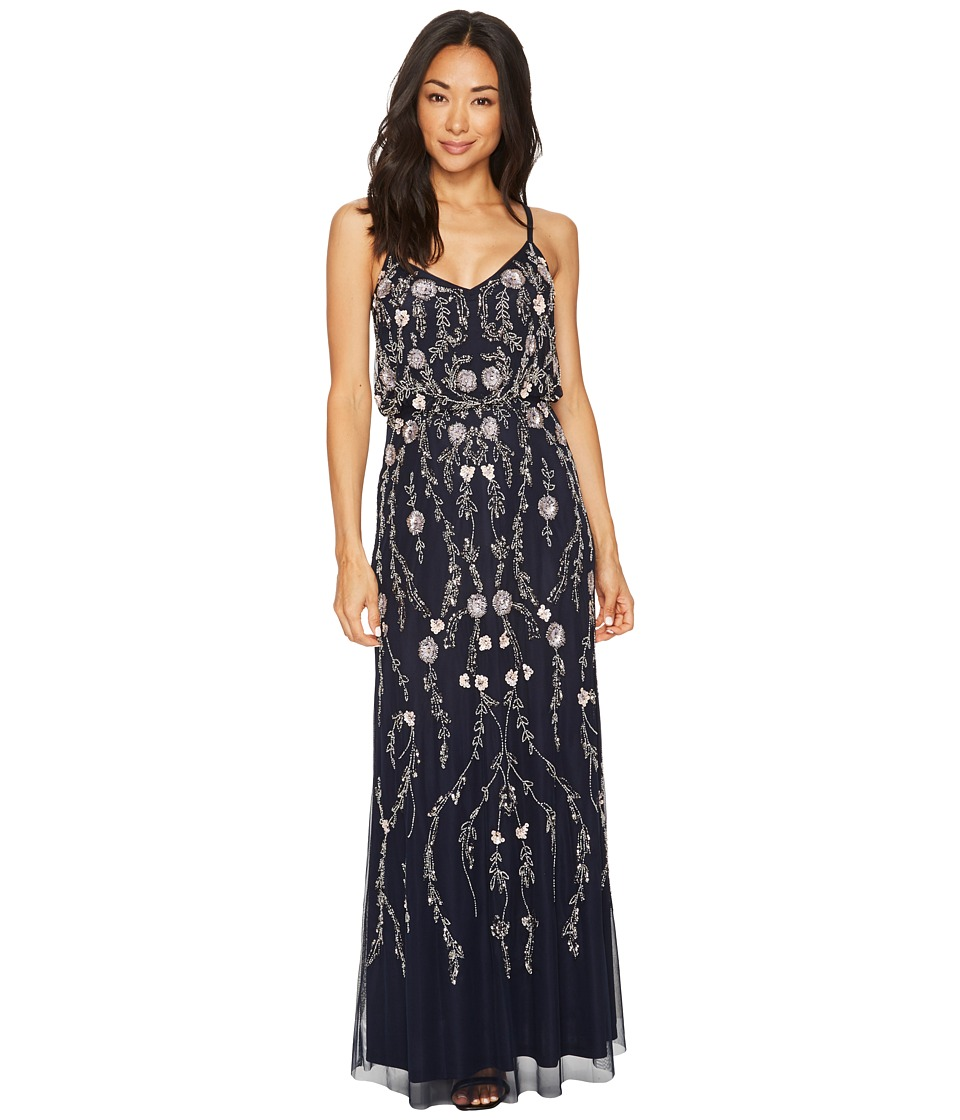 Adrianna Papell Petite Floral Beaded Blouson Gown (Midnight Multi ...