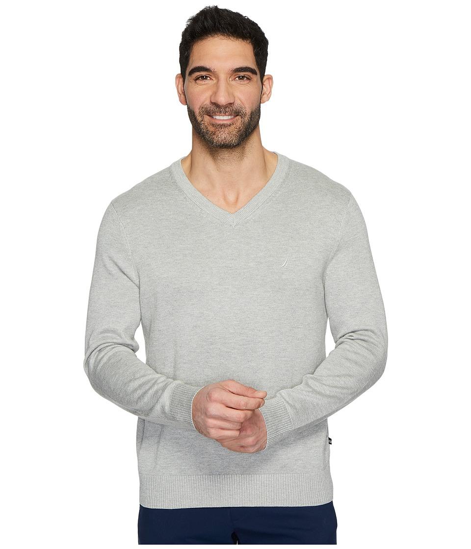 Nautica 12 Guage V-Neck Sweater (Grey Heather) Men