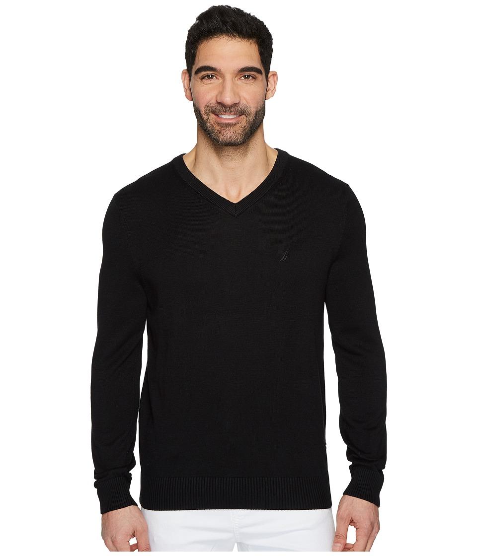 Nautica 12 Guage V-Neck Sweater (True Black) Men