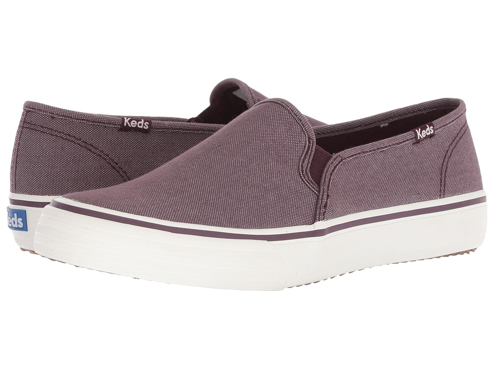 Keds Double Decker Shimmer Chambray (Burgundy) Slip-On Shoes