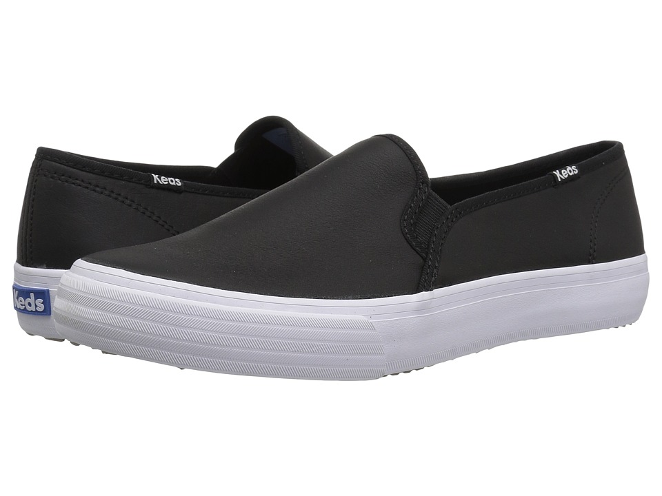 Keds Double Decker Leather (Black) Slip-On Shoes