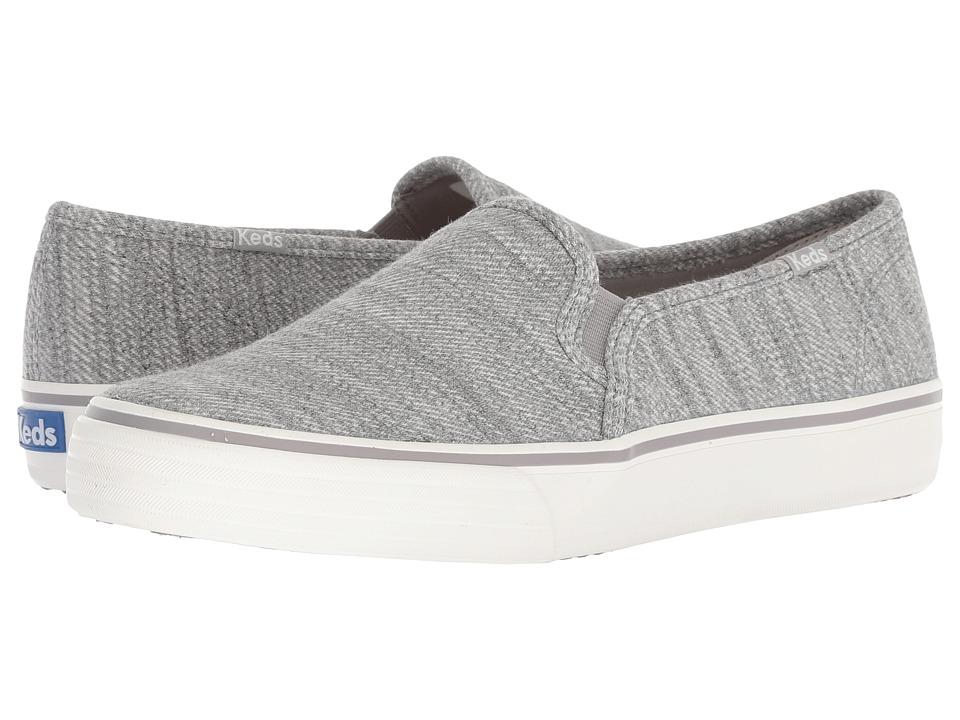 Keds Double Decker Twill Stripe Jersey (Light Gray) Slip-On Shoes