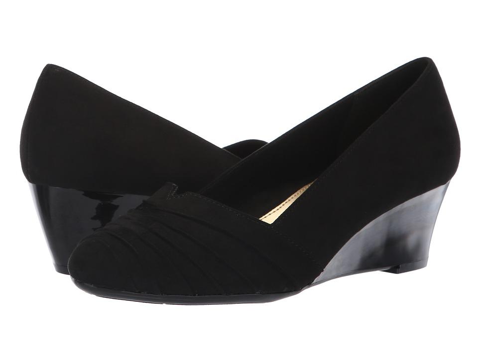 Soft Style Gerdie (Black Faux Suede) Wedges