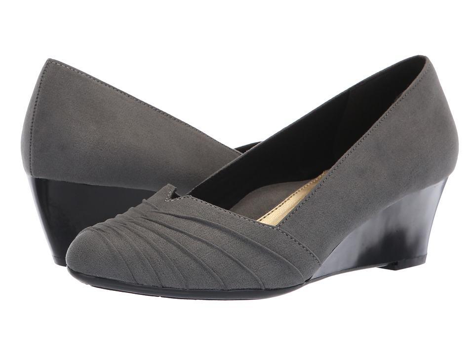 Soft Style Gerdie (Dark Grey Faux Suede) Wedges