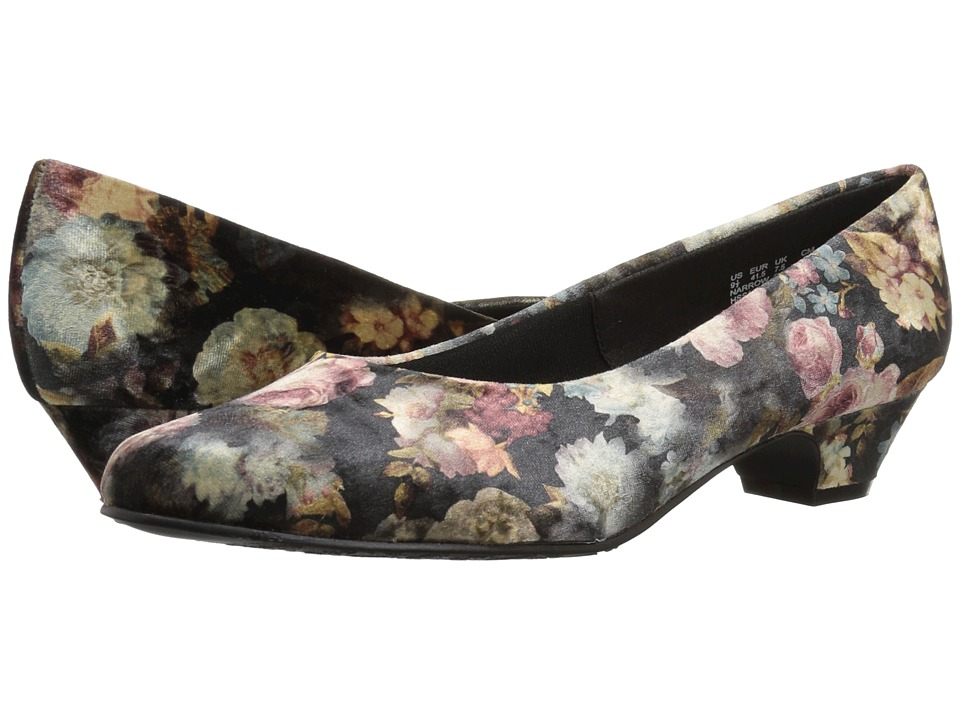 Soft Style Angel II (Black Floral Printed Velvet) 1-2 inch heel Shoes