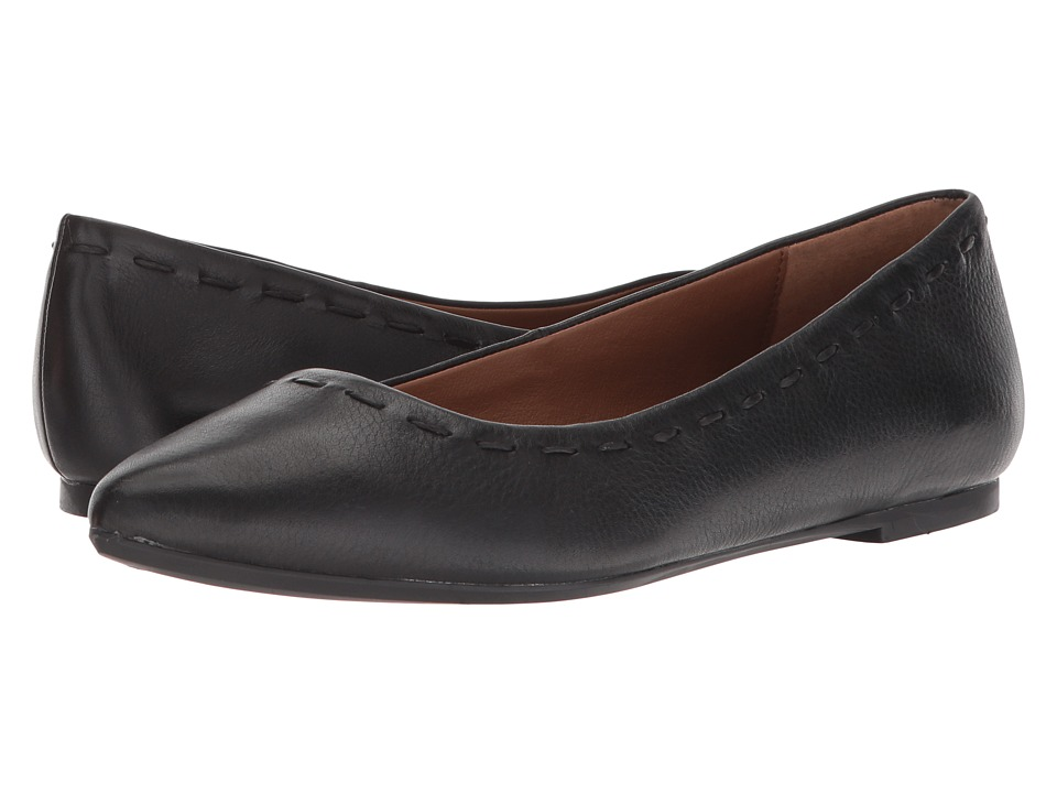 Frye Kiki Stitch Ballet (Black Cow Napoli) Women's Dress Flat Shoes