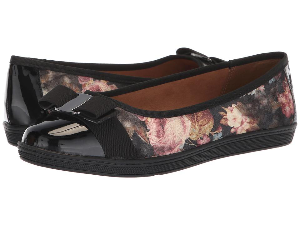 Soft Style Faeth (Black Floral Printed Velvet) Flats