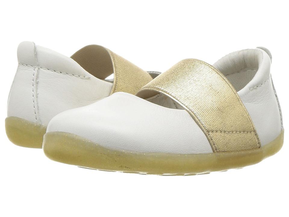 Bobux Kids - Step Up Demi Ballet (Infant/Toddler) (White/Gold) Girls Shoes