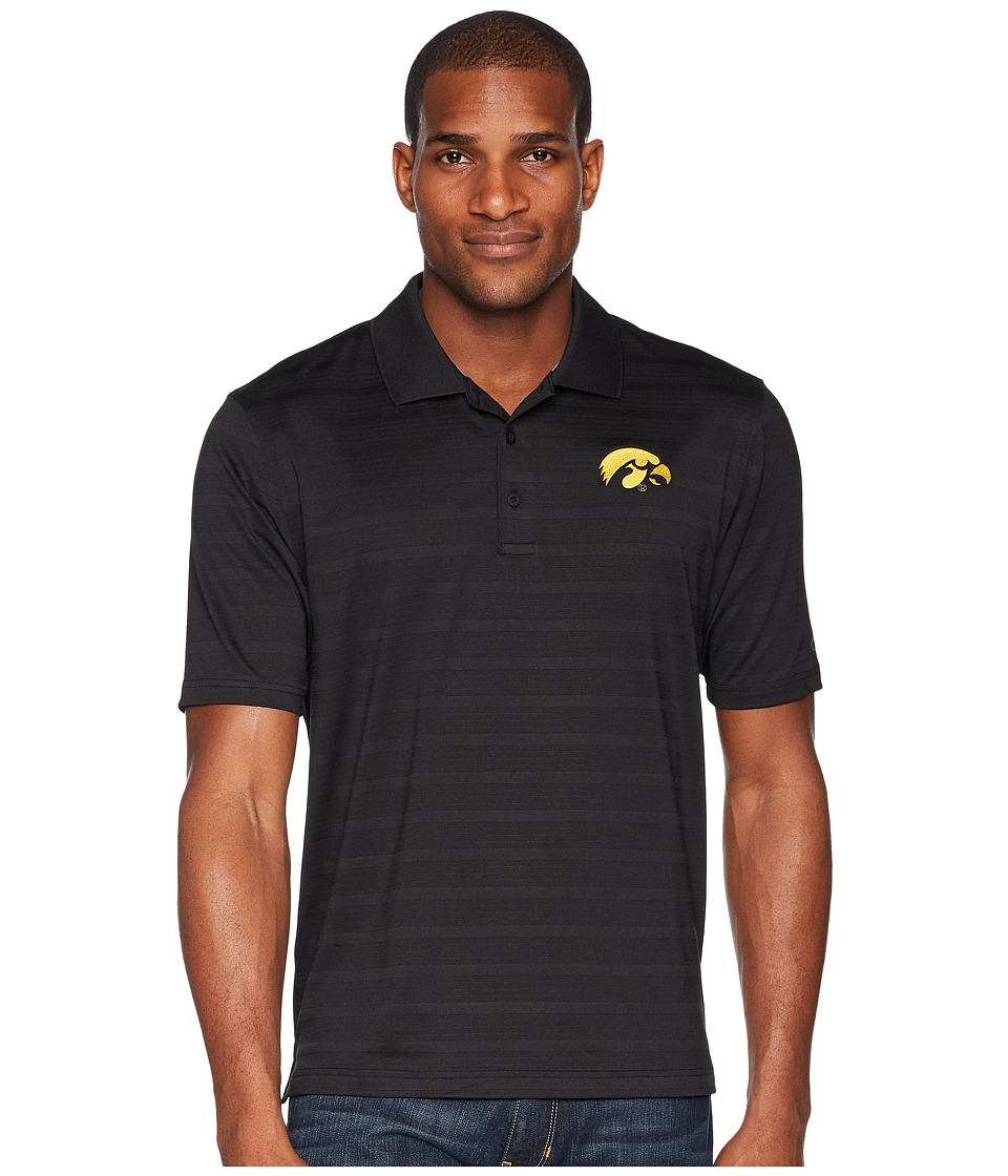 Champion College - Iowa Hawkeyes Textured Solid Polo (Black) Mens Short Sleeve Pullover