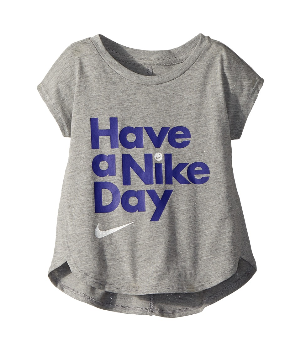 Nike Kids - Have A Nike(r) Day Short Sleeve Tee (Toddler) (Dark Grey Heather) Girls T Shirt