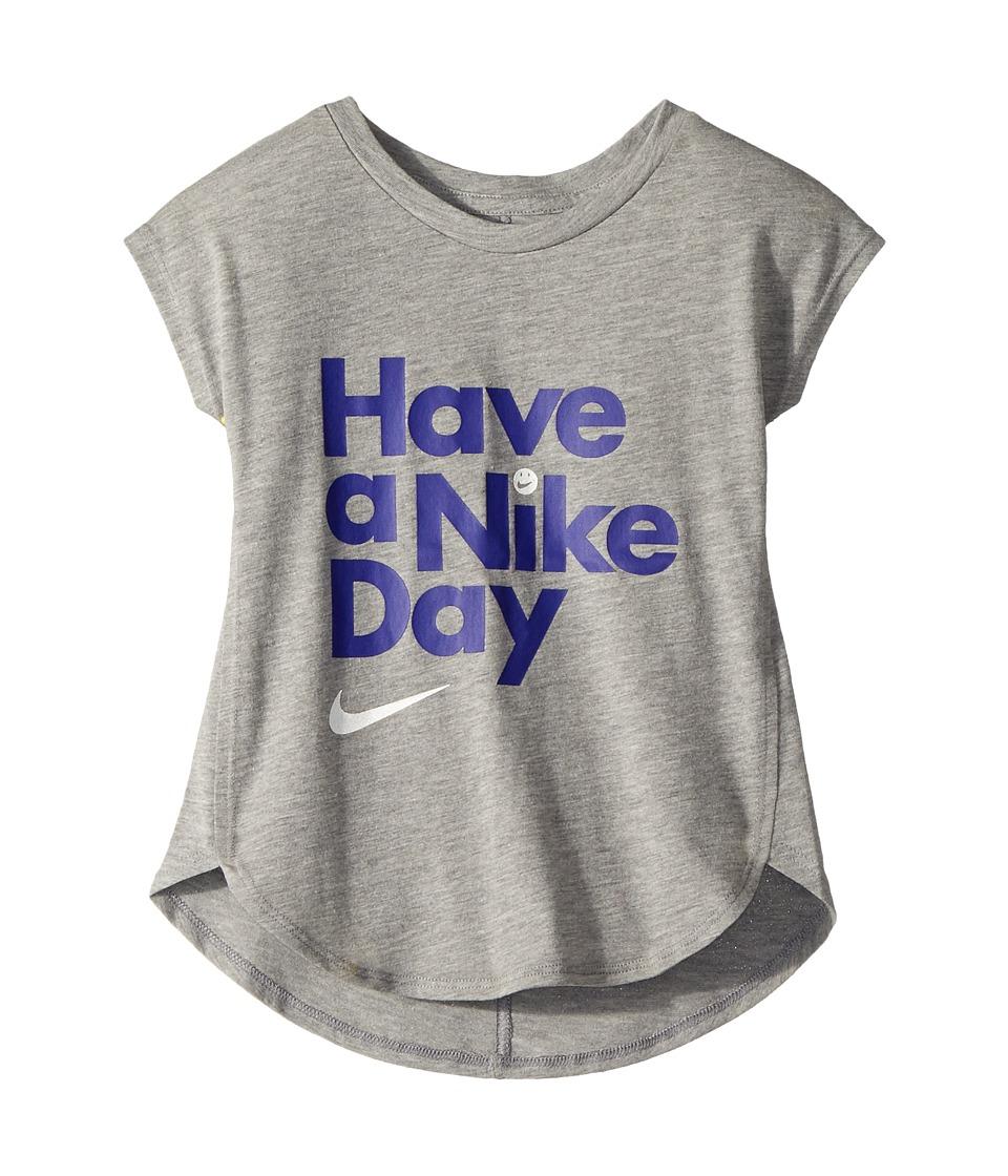 Nike Kids - Have A Nike(r) Day Short Sleeve Tee (Little Kids) (Dark Grey Heather) Girls T Shirt