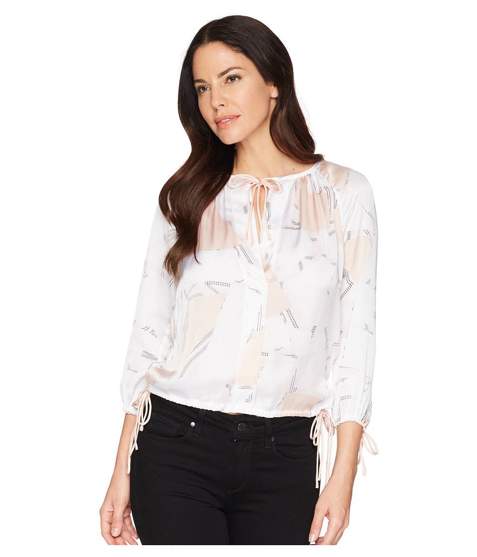 Kenneth Cole New York - 3/4 Sleeve Triple Tie Top (Floating Shapes/White) Womens Clothing