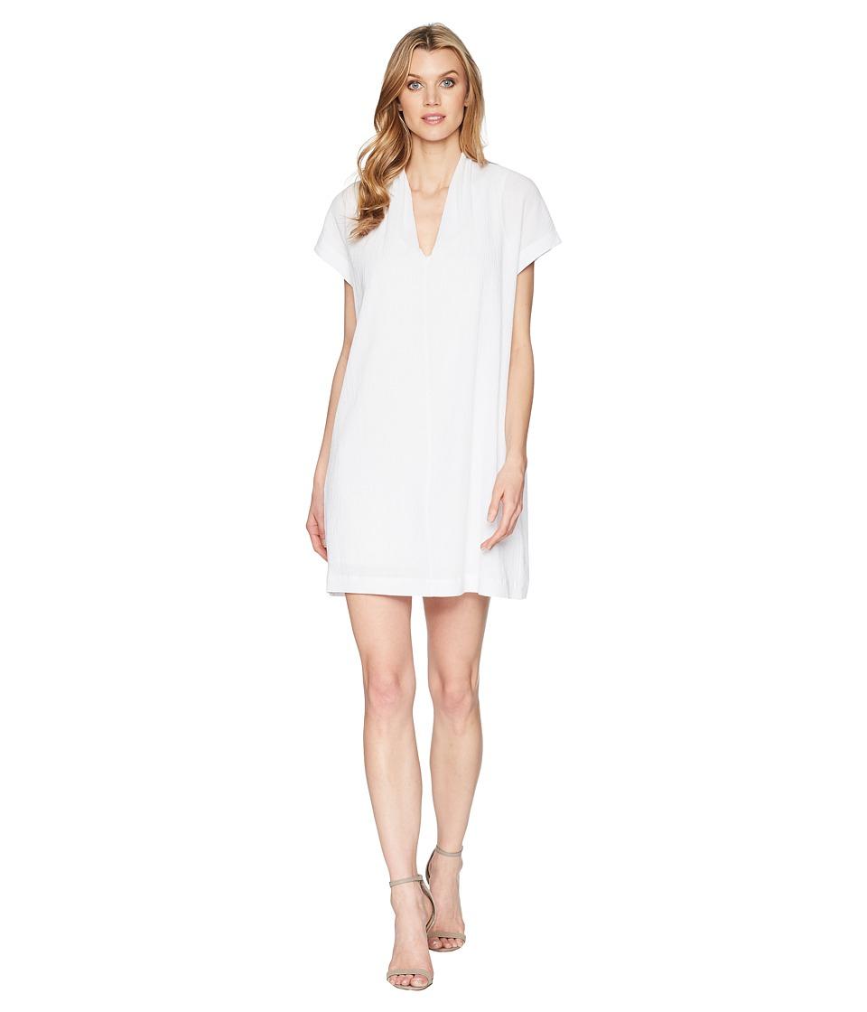Kenneth Cole New York - V-Neck Tuck Dress (White) Womens Dress