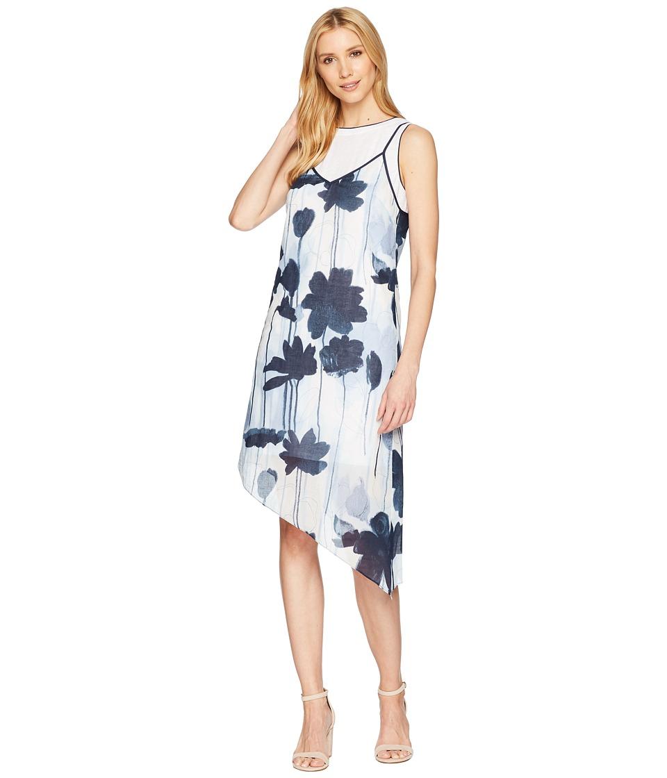 Kenneth Cole New York - 2 Layer Dress (Linear Floral/Indigo) Womens Dress