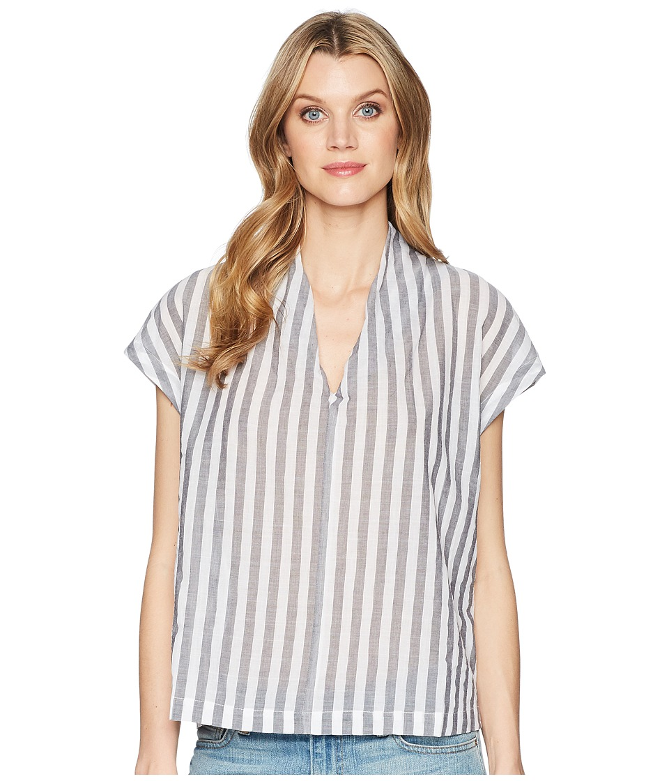 Kenneth Cole New York - V-Neck Tuck Top (Avenue Stripe) Womens Clothing