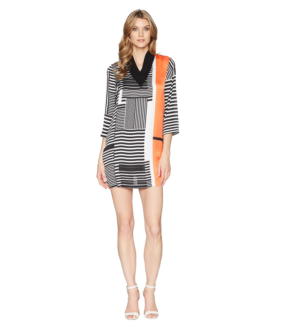 Kenneth Cole New York - V-Neck Ribbed Dress (Pop Stripe/Mandarin Red) Womens Dress