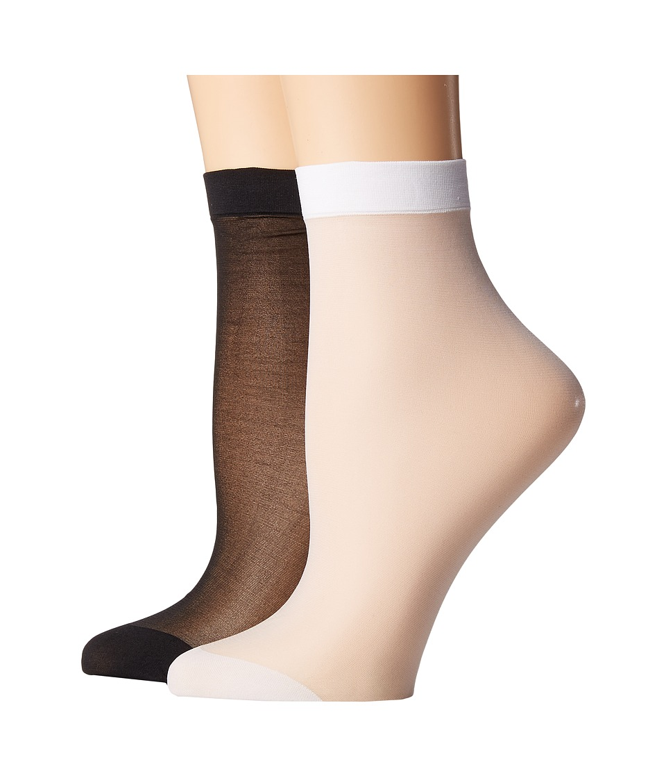 Steve Madden - 2-Pack Sheer Anklet (White/Black) Womens Crew Cut Socks Shoes