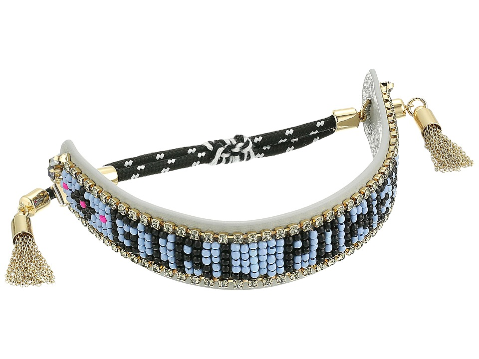 Rebecca Minkoff - Girl Power Seed Bead Friendship Bracelet (Grey/Blue/Black) Bracelet
