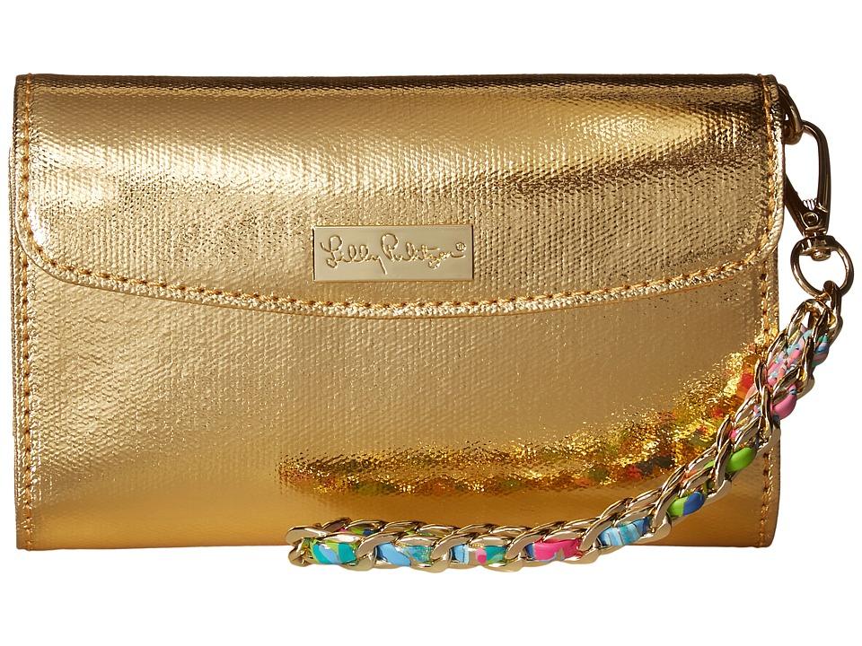 Lilly Pulitzer Bahama Wristlet (Gold Metallic) Wristlet H...