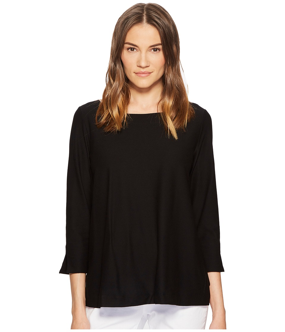 Eileen Fisher - Ballet Neck Box-Top (Black) Womens Long Sleeve Pullover