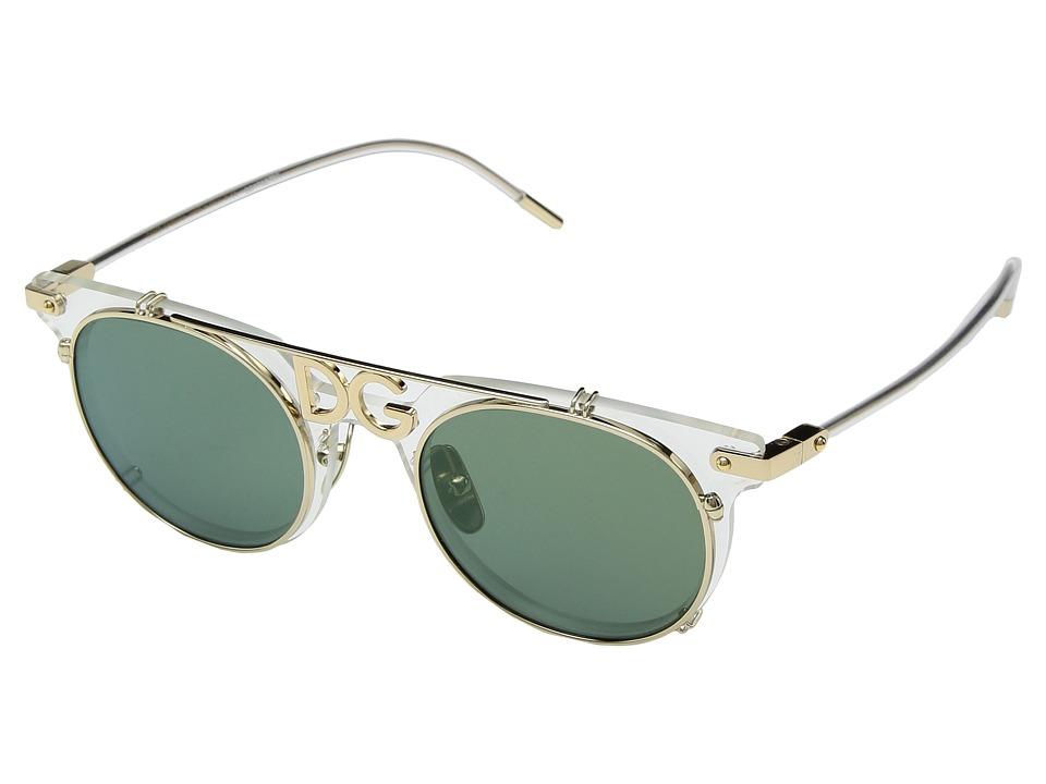 Dolce & Gabbana 0DG2196 (Clear/Pale Gold/Light Green Mirr...
