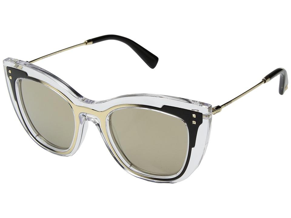 Valentino 0VA4031 (Transparent Light Gold Matte Black/Light Gold Mirror) Fashion Sunglasses