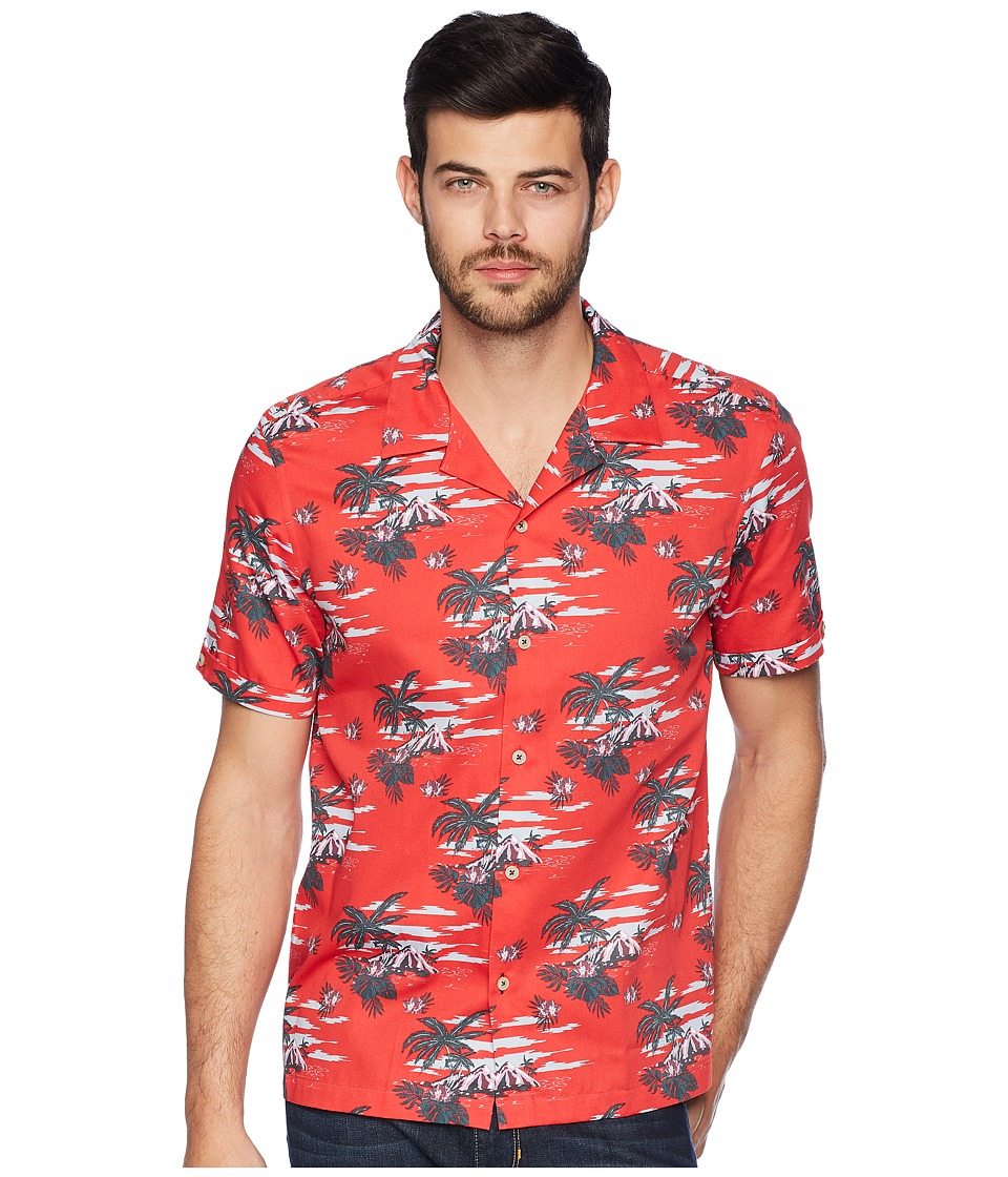 Ted Baker - Bliss Short Sleeve Tropical Pattern Shirt (Red) Mens Clothing