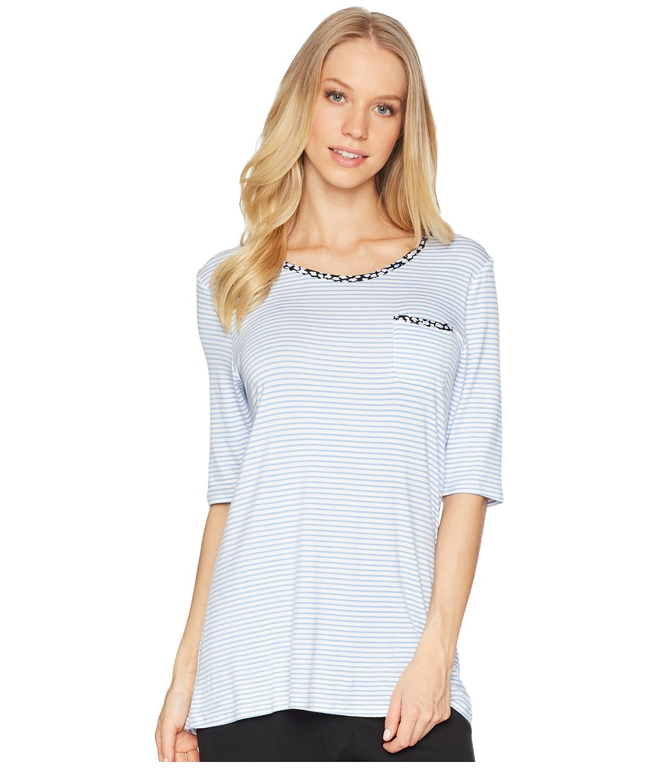 Jockey - Above Elbow Sleeve Top (Blue Stripe) Womens Pajama