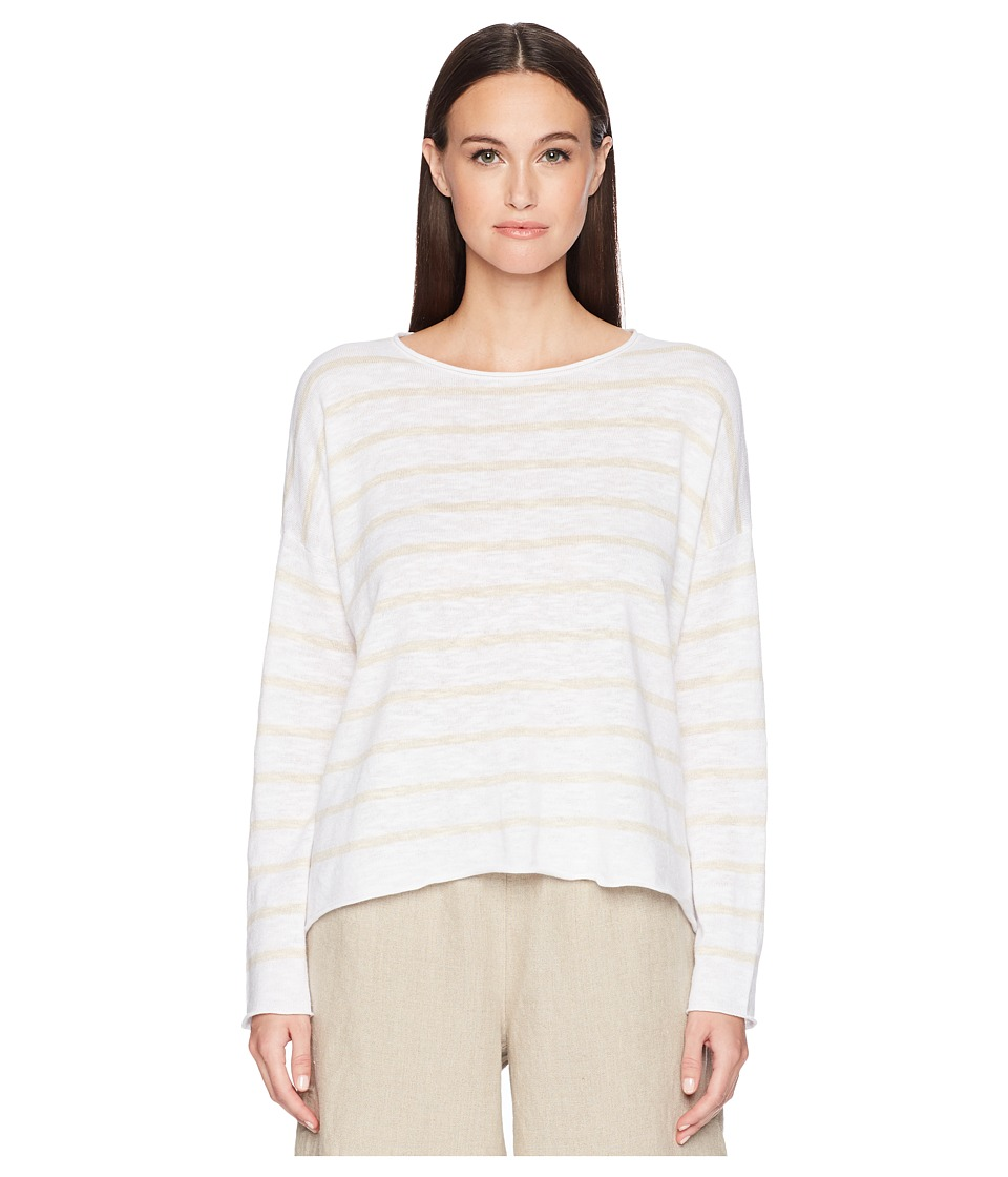 Eileen Fisher Stripe Organic Linen and Cotton Sweater (Wh...