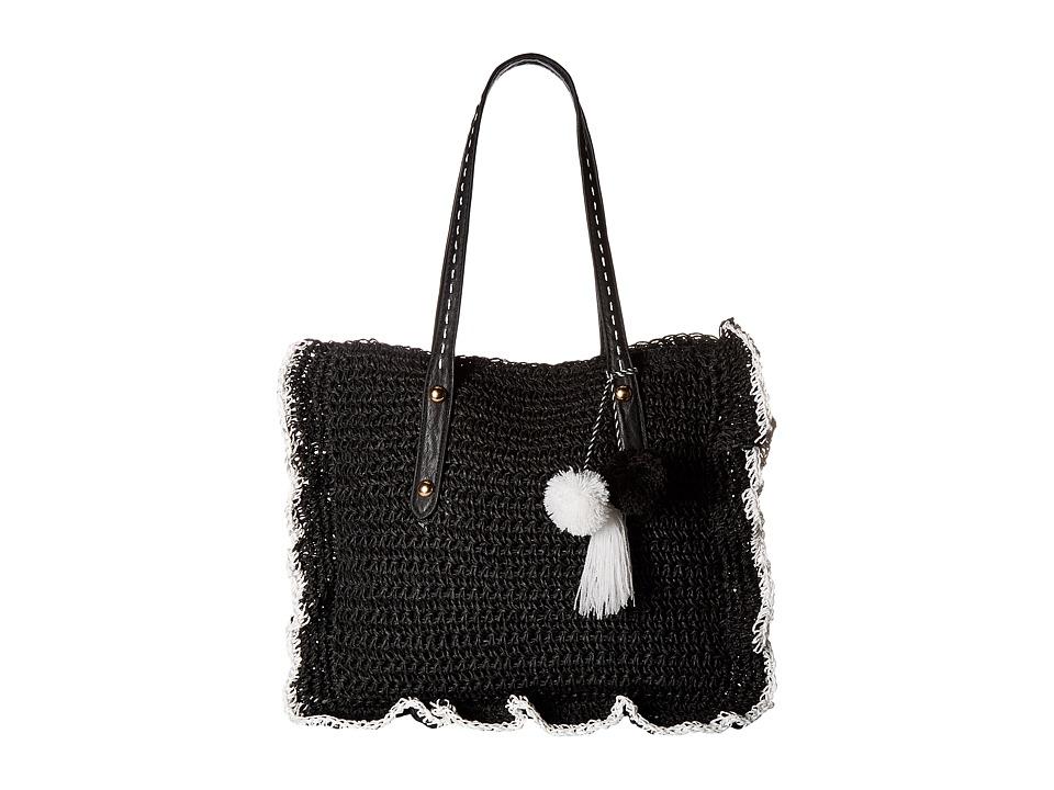 Jessica Simpson - Kalie Straw (Black/White) Handbags