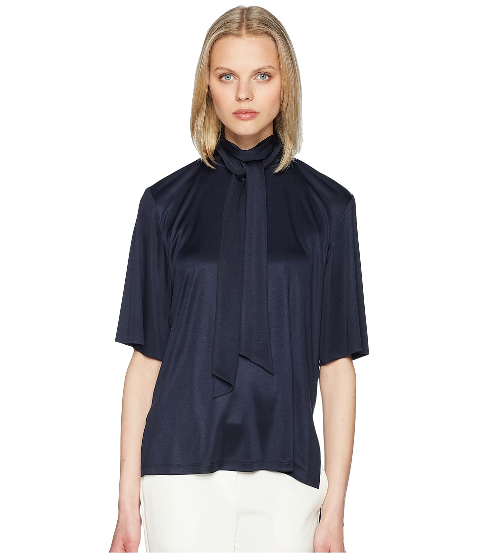Adam Lippes - Silk Jersey Short Sleeve Blouse w/ Scarf (Dark Navy) Womens Blouse