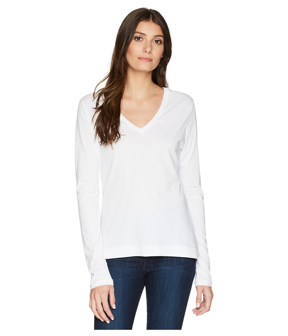 Adam Lippes - Long Sleeve V-Neck Core Tee (White) Womens T Shirt