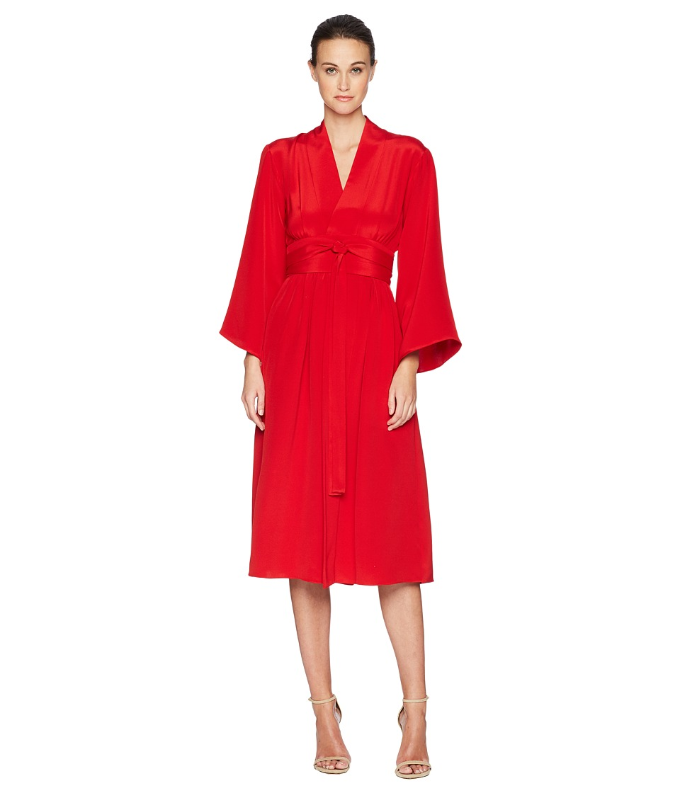 Adam Lippes - Silk Crepe Kimono Sleeve Dress w/ Belt (Firecracker) Womens Dress
