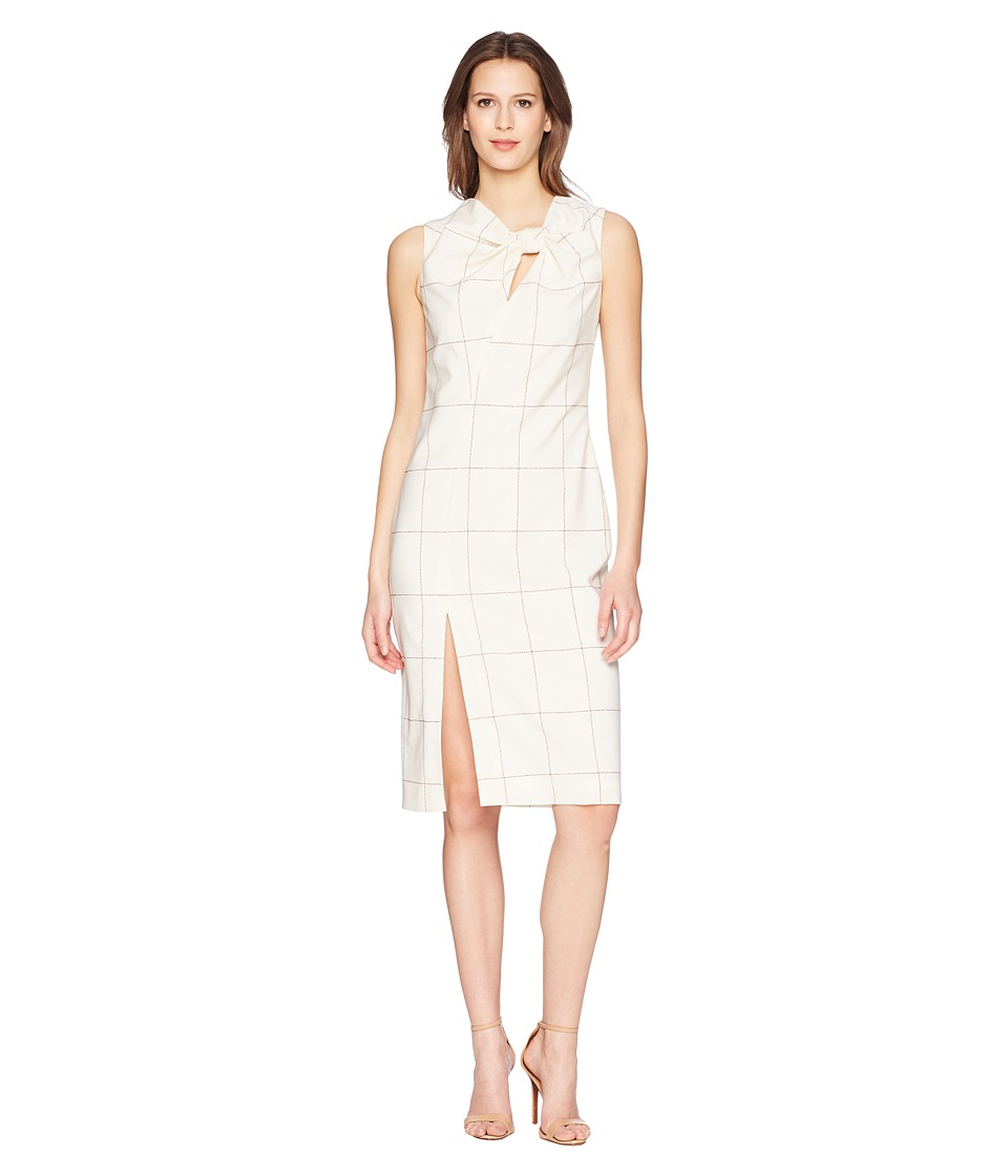 Adam Lippes - Windowpane Wool Sheath Dress w/ Knot Detail (Ivory/Burgundy) Womens Dress