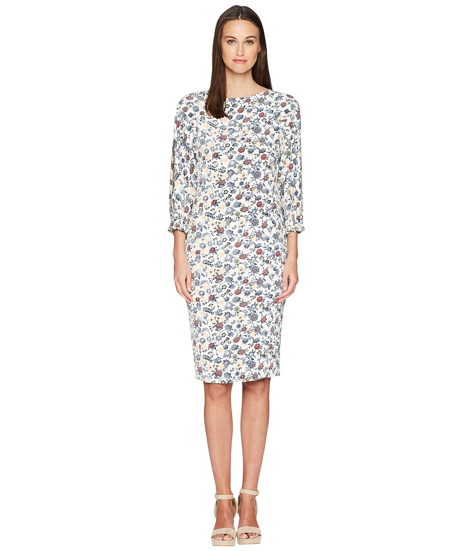 Adam Lippes - Printed Crepe Boat Neck Dress w/ Balloon Sleeve (Ivory/Peach Multi) Womens Dress