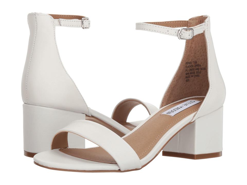 Steve Madden Irenee Sandal (White Leather) 1-2 inch heel Shoes