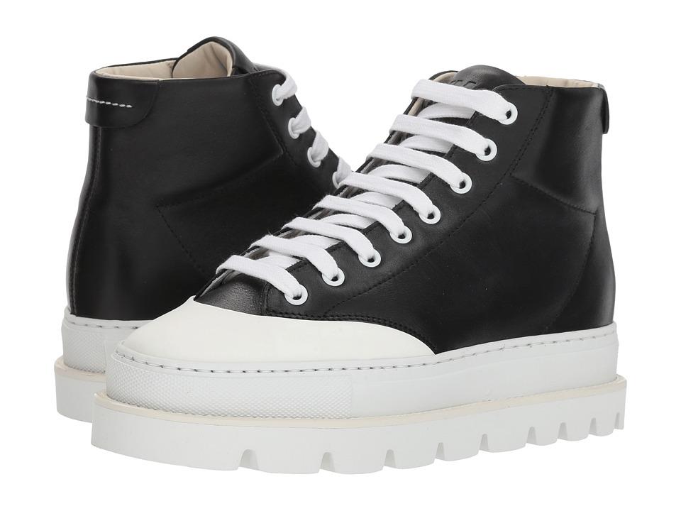 MM6 Maison Margiela Cap Toe Platform High Top (Black/Black) Women's Shoes