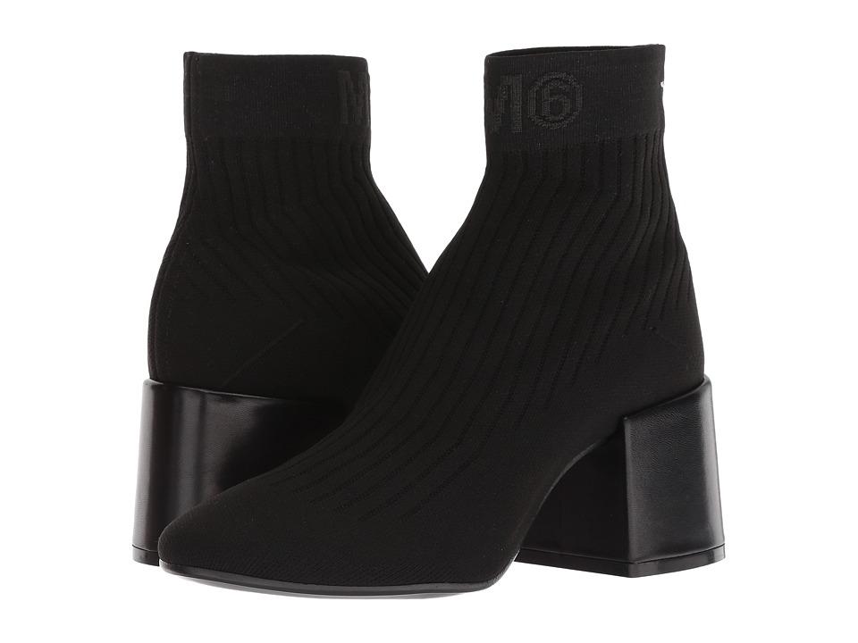 MM6 Maison Margiela Logo Sock Bootie (Black/Black)