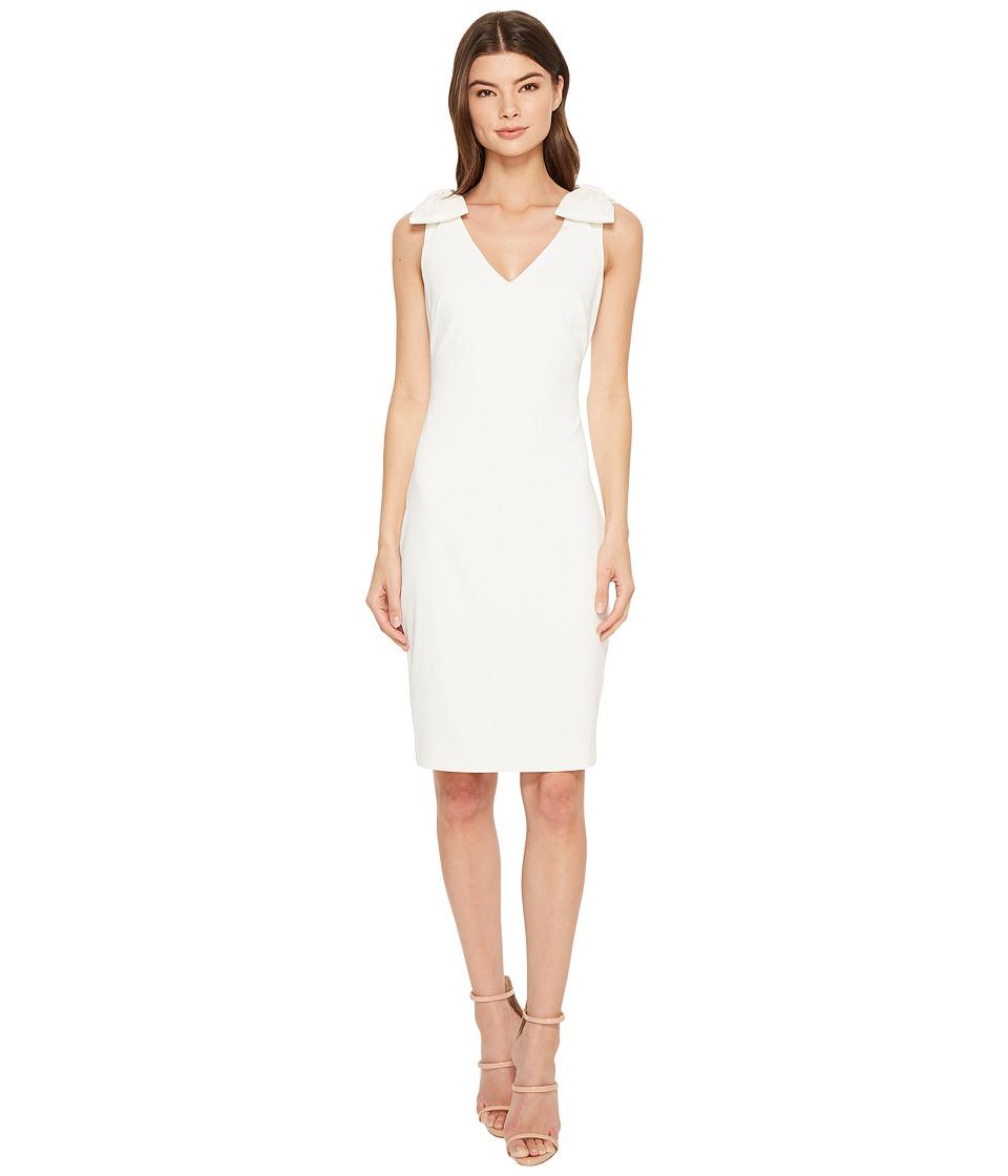 Badgley Mischka - V-Neck Butter Crepe Bow Shoulder Dress (Ivory) Womens Dress