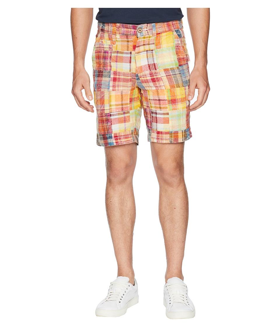 Vintage 1946 - Acid Washed Patch Madras Shorts (Orange) Mens Shorts