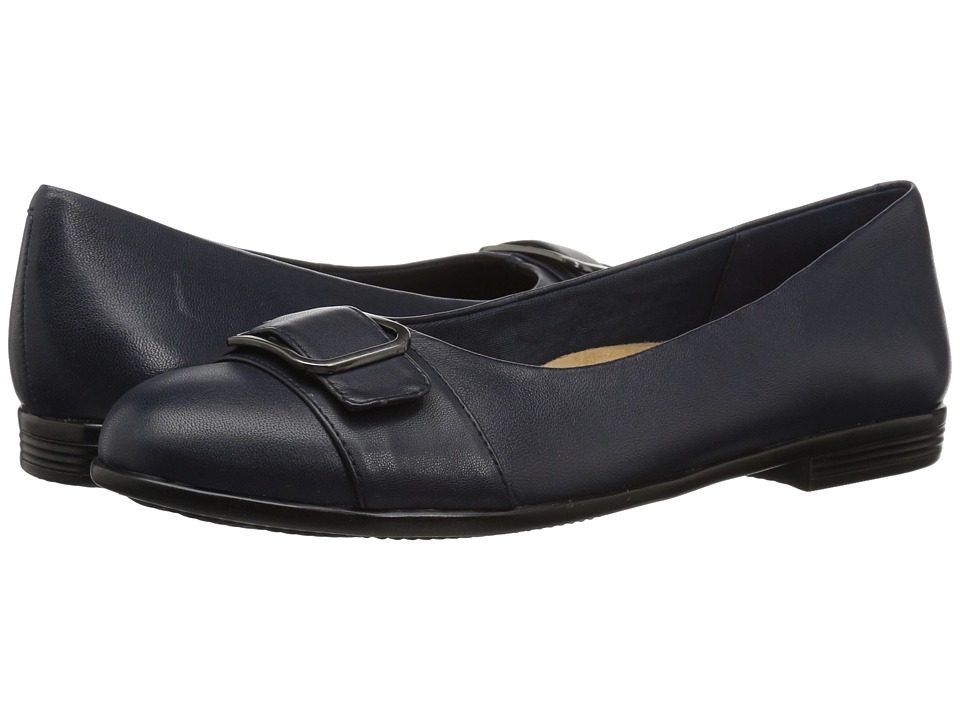 Trotters Aubrey (Navy Soft Nappa Leather) Women's Slip-on Dress Shoes