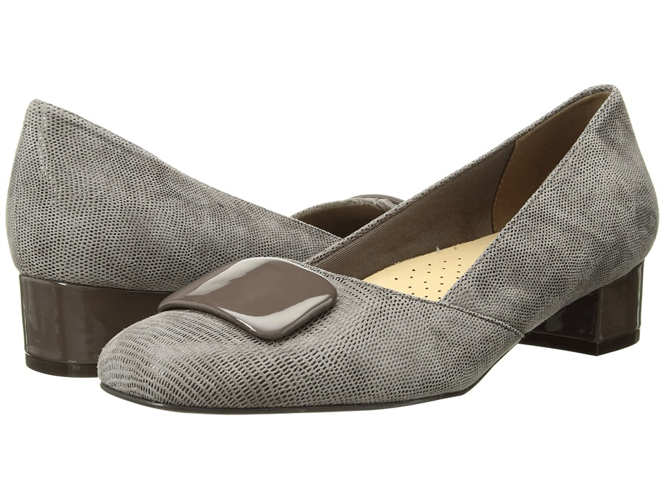 Trotters Delse (Taupe Soft Lizard Embossed Patent Suede Leather) Women's Shoes