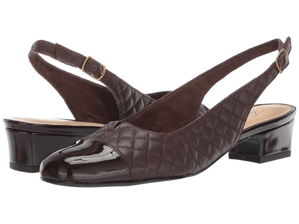 Trotters Dea (Dark Brown Soft Quilted Leather/Patent) 1-2 inch heel Shoes